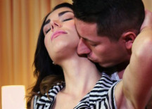 Innocent brunette's intense orgasm